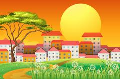 Tall buildings under the bright yellow moon Stock Illustration