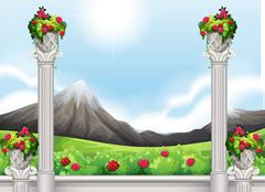 A view of the tall mountain - stock illustration
