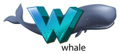 A letter W for whale - stock illustration
