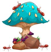 A giant mushroom and a colony of ants Stock Illustration