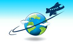 A globe and a plane - stock illustration