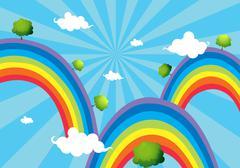 Three rainbows - stock illustration