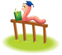 A worm reading above the wooden fence - stock illustration