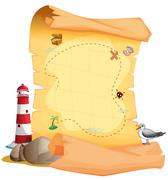 A treasure map near the lighthouse - stock illustration