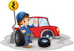 Stock Illustration of A boy fixing a red car