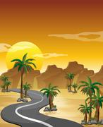 A desert with a long and winding road - stock illustration