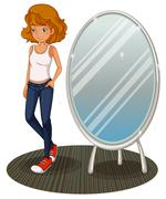 A teenage girl beside the mirror Stock Illustration