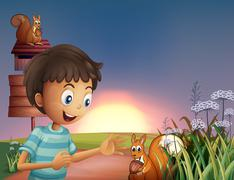 Stock Illustration of A young boy amazed by the squirrel