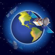 Satellites surrounding the planet - stock illustration