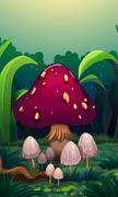 A giant mushroom surrounded with small mushrooms - stock illustration