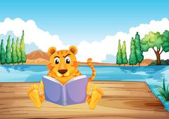 A serious tiger reading a book at the diving board Stock Illustration
