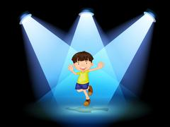 A cute little boy dancing in the stage - stock illustration