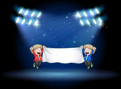 Two boys holding a banner under the spotlights - stock illustration