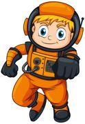 An astronaut wearing an orange suit Stock Illustration