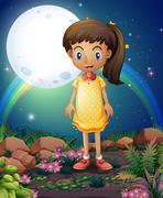 A little girl in the rocky garden - stock illustration