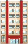 A tall condominium - stock illustration