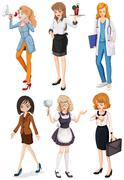 Women with different professions - stock illustration