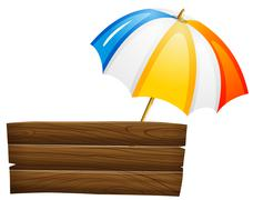 Stock Illustration of An empty signboard and an umbrella