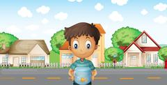 Stock Illustration of A boy with an aquarium standing across the neighborhood