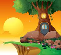A tree house near the cliff Stock Illustration