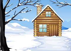 A wooden house in a snowy season Stock Illustration