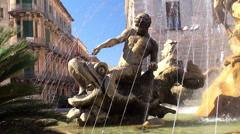 Fountain of Diana at the Piazza Archimede. Syracuse. Sicily - stock footage