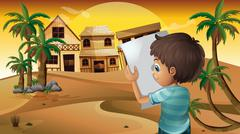 A boy holding an empty paper at the desert - stock illustration