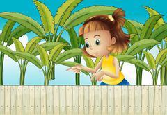 A young girl at the banana plantation Stock Illustration