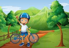 A boy standing in the pathway with his bike - stock illustration
