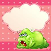 Stock Illustration of A tired monster below the empty cloud template