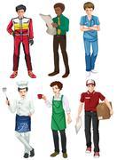 Six employed men - stock illustration