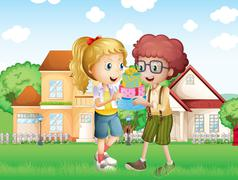 A boy and a girl exchanging gifts in front of the village Stock Illustration