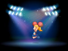 A stage with a cute cheerdancer performing at the center Stock Illustration
