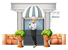 A chef in front of the restaurant Stock Illustration