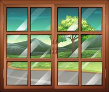 A closed window with a view of the road - stock illustration