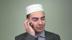 4K Muslim Man Talking To Cell Phone Stock Footage