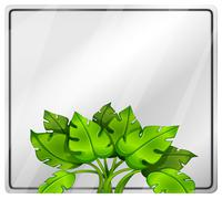 An empty signage with a green plant - stock illustration