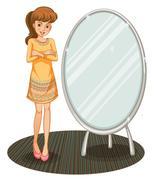 A pretty girl beside a mirror Stock Illustration