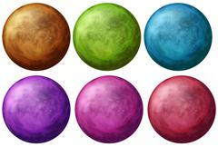 Six colorful balls Stock Illustration