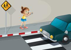 Stock Illustration of A girl taking a photo of the car