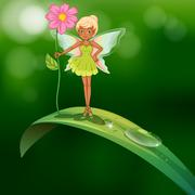 A fairy holding a flower standing above a leaf with a dew Stock Illustration