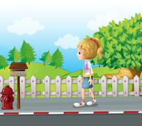 Stock Illustration of A lady walking in the street alone