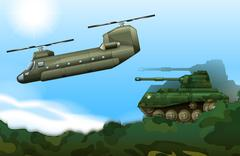 A military tank and a helicopter Stock Illustration