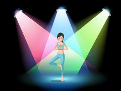 A girl doing yoga in the middle of the stage Stock Illustration