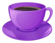 A violet cup with coffee - stock illustration