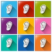 Sense of hearing icons - stock illustration