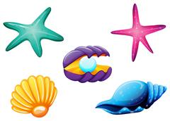 Sea creatures Stock Illustration