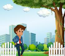 A young office worker near the wooden fence - stock illustration