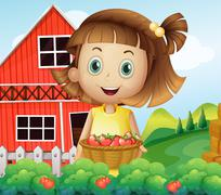 A girl harvesting at the strawberry farm Piirros