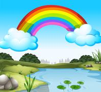 A beautiful scenery with a rainbow in the sky Piirros